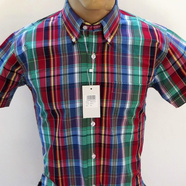 Relco short sleeve shirt with red green and blue multi for Red and green checked shirt