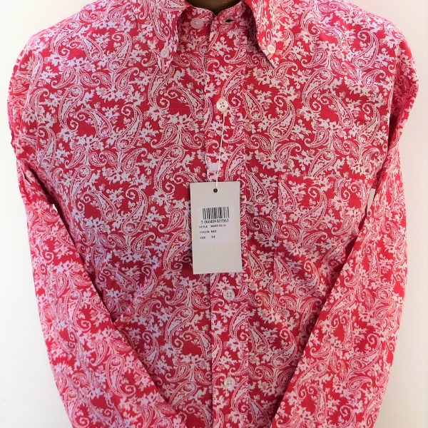 Relco red pink shirt with white paisley pattern shirts for Custom pattern button down shirts