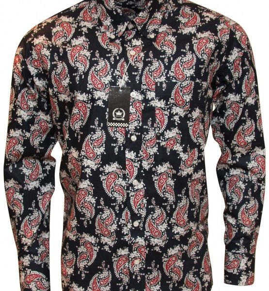 bf9a34b53 Relco Navy Shirt With Red Paisley Pattern - Shirts And Things